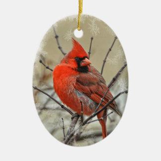 Ornement ovale comportant un cardinal de mâle
