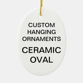Ornement ovale d'arbre de Noël de porcelaine faite