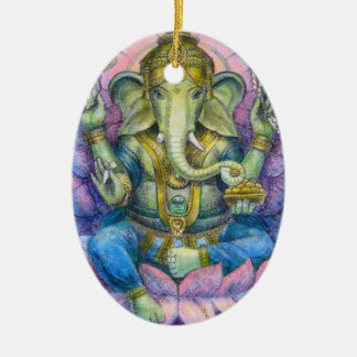 Ornement ovale de Noël de Lotus Ganesha