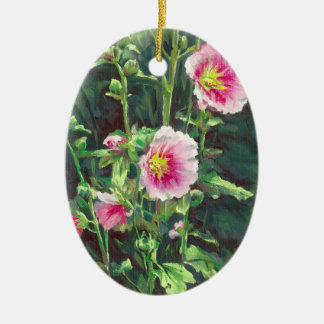 Ornement Ovale En Céramique 0013 roses trémière roses