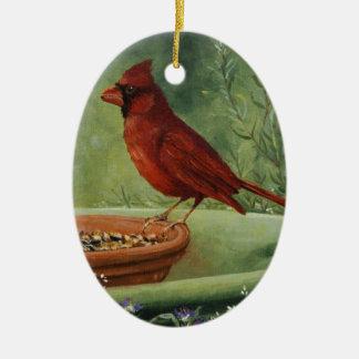 Ornement Ovale En Céramique 0487 cardinal Onament