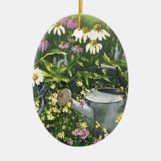 Ornement Ovale En Céramique 0530 fleurs de cône et boîte d'arrosage