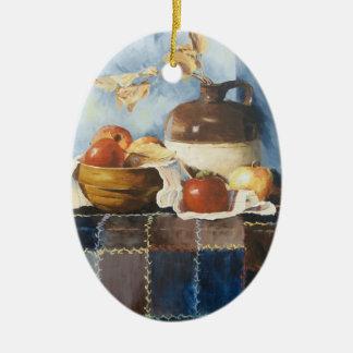 Ornement Ovale En Céramique 0541 pommes et vaisselle sur l'ornement d'édredon