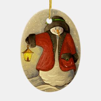 Ornement Ovale En Céramique 4910 bonhomme de neige et Noël de lanterne