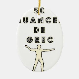 Ornement Ovale En Céramique 50 NUANCES DE GREC - Jeux de Mots - Francois Ville