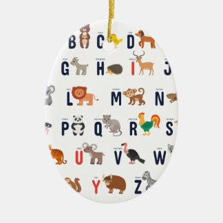 Ornement Ovale En Céramique ABCs animal - alphabet