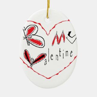 Ornement Ovale En Céramique Abeille mon valentine