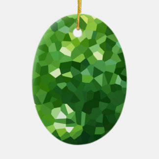 Ornement Ovale En Céramique Abrégé sur vert mosaïque en verre souillé de forme