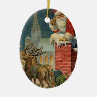 Ornement Ovale En Céramique Affiche 1906 clous de Père Noël de cru original
