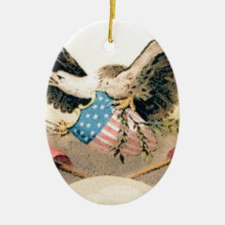 Ornement Ovale En Céramique aigle et joint de drapeaux