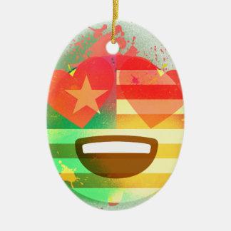 Ornement Ovale En Céramique Aimez l'art de peinture de jet d'Emoji de drapeau