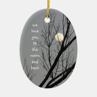 Ornement Ovale En Céramique Aimez-vous à la lune et au dos, message de