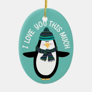 Ornement Ovale En Céramique Aimez-vous cadeau de Noël de pingouin d'amusement
