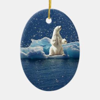 Ornement Ovale En Céramique Ajoutez le SLOGAN pour sauver la glace arctique de