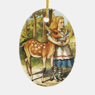 Ornement Ovale En Céramique Alice et le faon