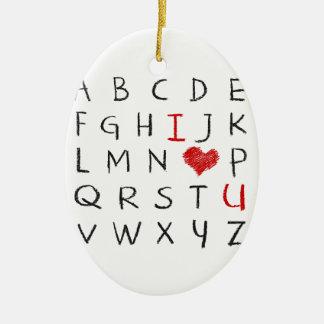 Ornement Ovale En Céramique Alphabet d'amour