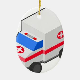 Ornement Ovale En Céramique Ambulance