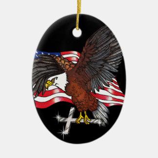 Ornement Ovale En Céramique Américain Eagle avec la croix