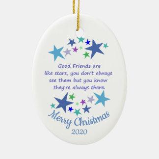Ornement Ovale En Céramique Amis de Noël daté de coutume bons comme des