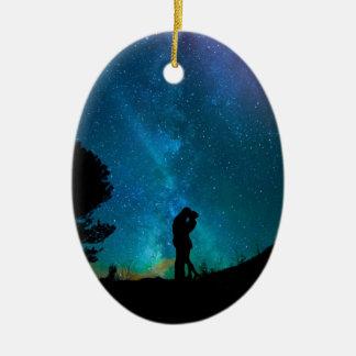 Ornement Ovale En Céramique Amour de ciel de Noël