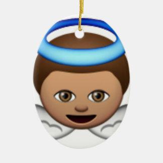 Ornement Ovale En Céramique amour de halo d'emoji d'ange de bébé