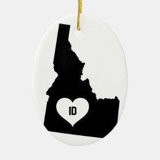 Ornement Ovale En Céramique Amour de l'Idaho