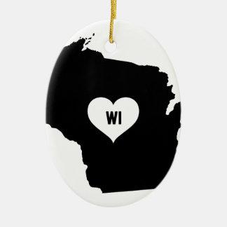 Ornement Ovale En Céramique Amour du Wisconsin