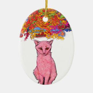Ornement Ovale En Céramique Amour et bonheur Kitty de paix