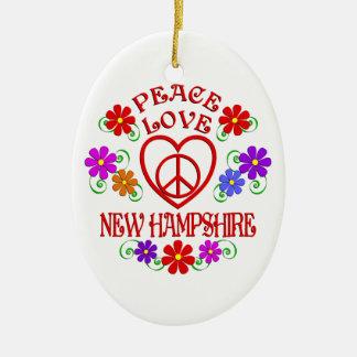Ornement Ovale En Céramique Amour New Hampshire de paix