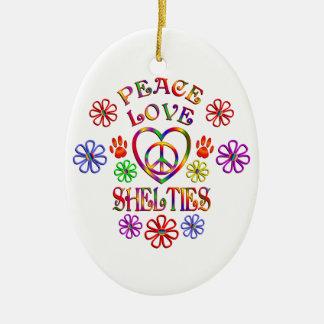 Ornement Ovale En Céramique Amour Shelties de paix
