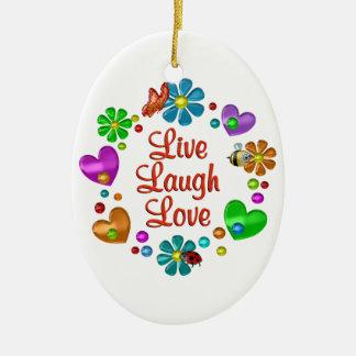Ornement Ovale En Céramique Amour vivant de rire d'amusement