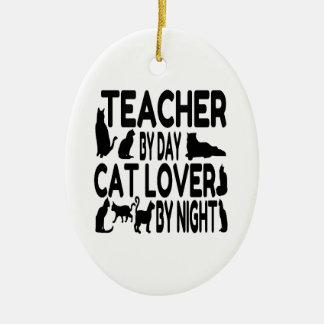 Ornement Ovale En Céramique Amoureux des chats de professeur