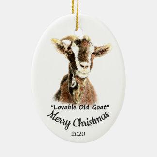 Ornement Ovale En Céramique Amusement aimable de chèvre de Noël daté de