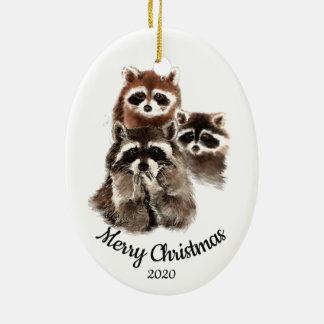 Ornement Ovale En Céramique Amusement daté de famille de raton laveur de Noël
