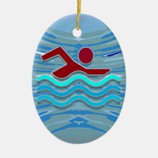 Ornement Ovale En Céramique AMUSEMENT rouge-rose de la piscine NVN695 de coeur