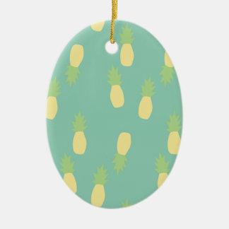 Ornement Ovale En Céramique Ananas arrière exotique bleu en pastel d'amour de