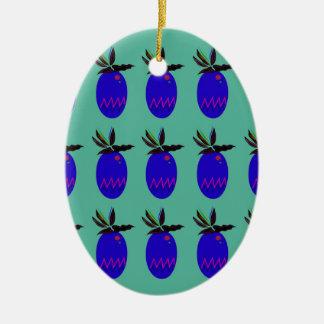 Ornement Ovale En Céramique Ananases de conception bleus