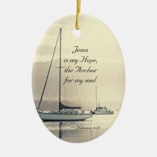 Ornement Ovale En Céramique Ancre de Jésus de 6h19 d'Hébreux pour mon âme,
