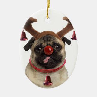 Ornement Ovale En Céramique Andouillers de carlin - carlin de Noël - Joyeux