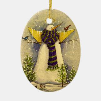 Ornement Ovale En Céramique Ange de la neige 4881 et Noël d'oiseaux