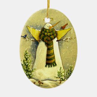 Ornement Ovale En Céramique Ange de la neige 4894 et Noël d'oiseaux