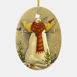 Ornement Ovale En Céramique Ange de la neige 4907 et Noël d'oiseaux