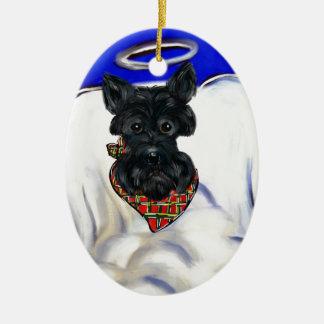 Ornement Ovale En Céramique Ange noir de Terrier d'écossais
