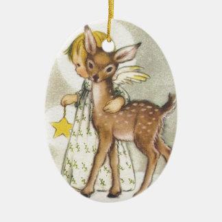 Ornement Ovale En Céramique Ange vintage de Noël avec des cerfs communs de