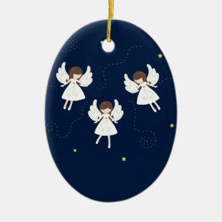 Ornement Ovale En Céramique Anges de Noël