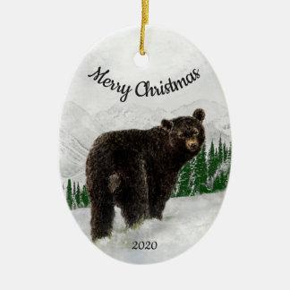 Ornement Ovale En Céramique Animal daté d'ours noir de Noël de coutume