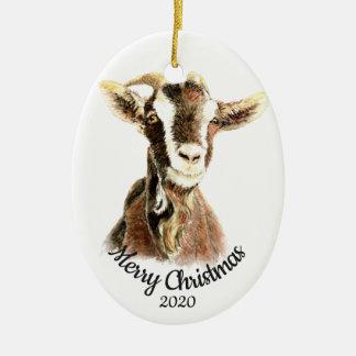 Ornement Ovale En Céramique Animal de ferme daté de chèvre d'aquarelle de Noël
