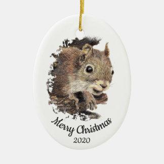 Ornement Ovale En Céramique Animal fait sur commande d'écureuil d'aquarelle de