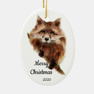 Ornement Ovale En Céramique Animal mignon de Fox rouge de Noël daté de coutume