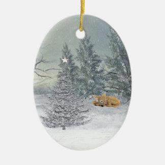 Ornement Ovale En Céramique Animaux dans la forêt d'hiver, arbre avec
